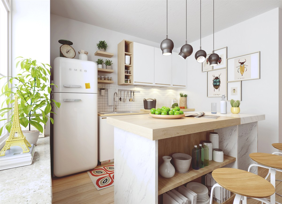 White And Wood Nordic Kitchen - 10 stunning apartments that show off the beauty of nordic interior design