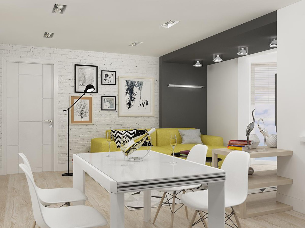 White Apartment With Yellow Theme - 2 bright homes with energetic yellow accents