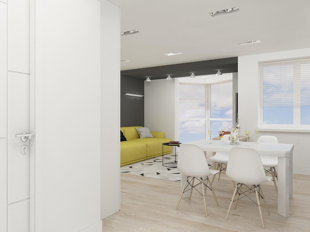 White Gray And Yellow Apartment Theme - 2 bright homes with energetic yellow accents