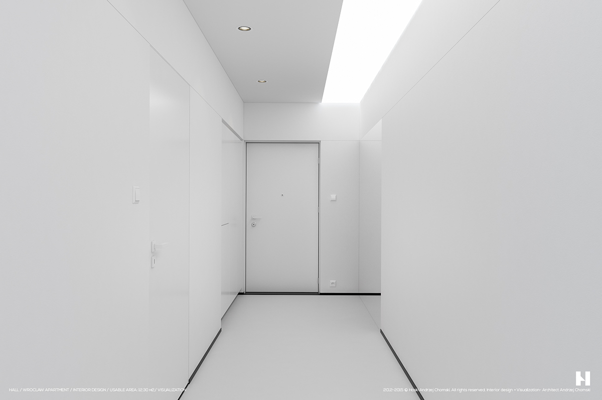 White Hallway With Black Accents - 6 perfectly minimalistic black and white interiors