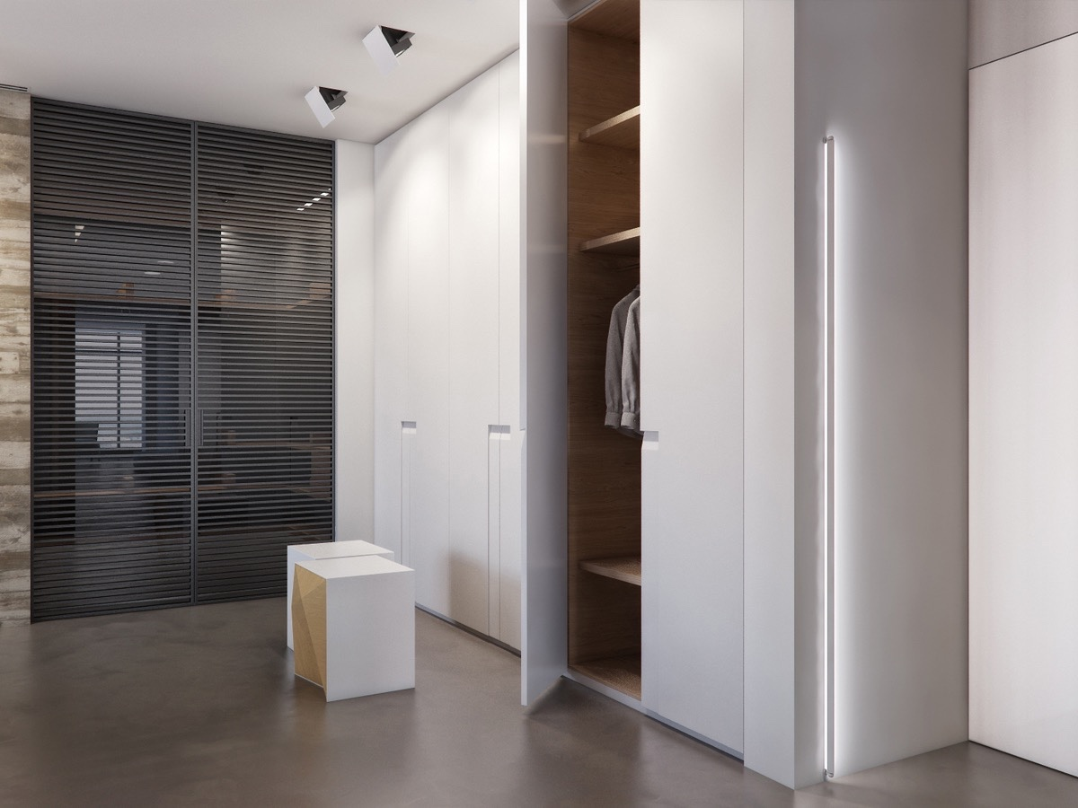 White Wardrobe Ideas - Two apartments with sleek grayscale interiors