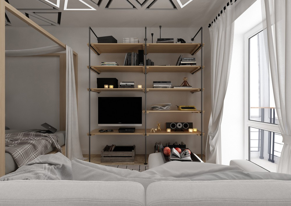 Wood And Iron Shelves - 4 super tiny apartments under 30 square meters includes floor plans