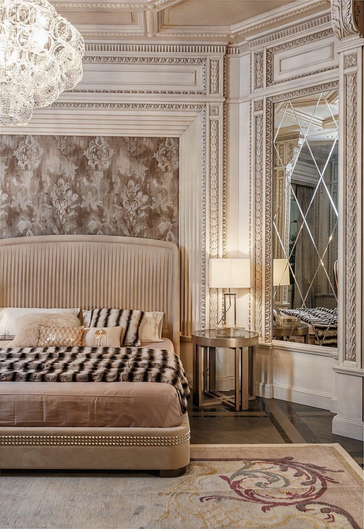Neoclassical and art deco features in two luxurious interiors for Art deco bedroom ideas