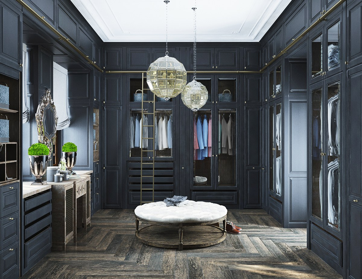 Neoclassical and art deco features in two luxurious interiors for Dressing room interior