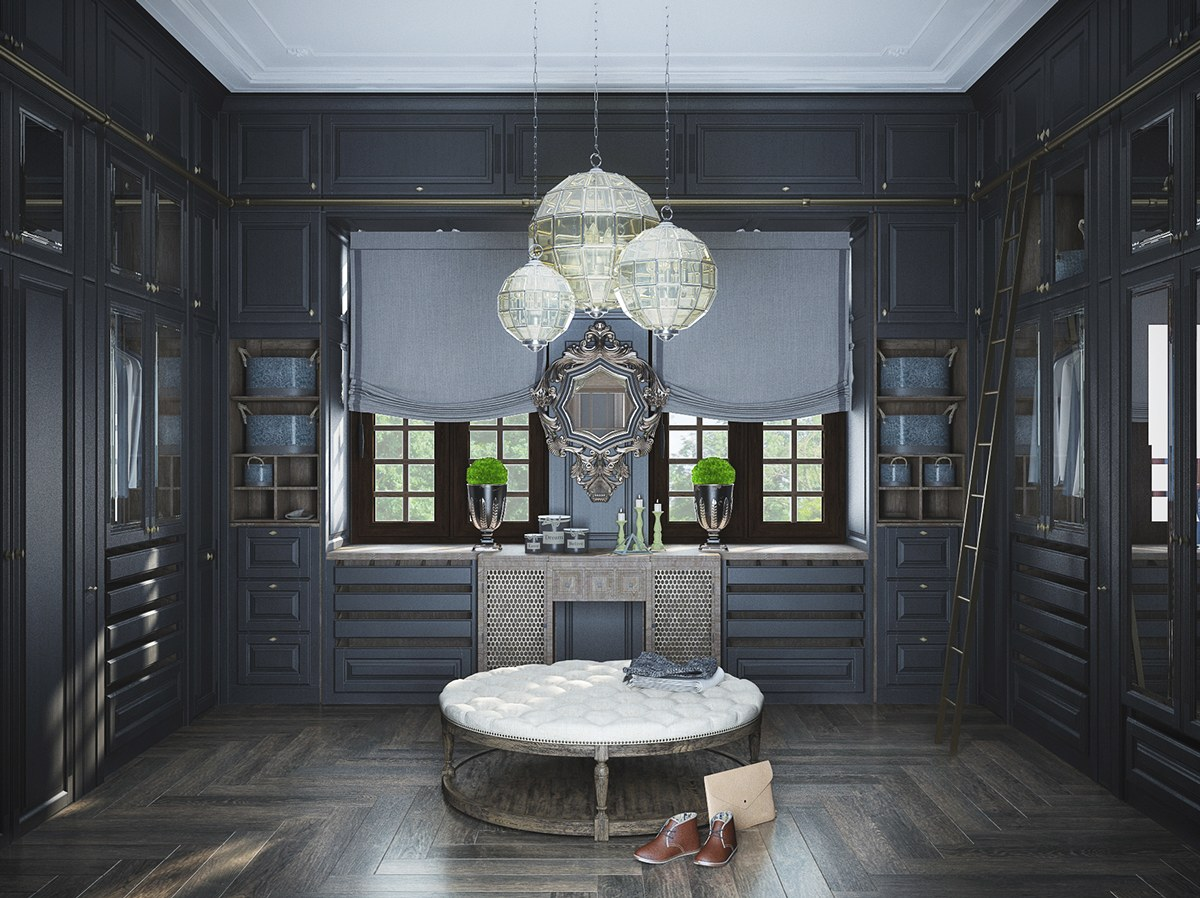 Neoclassical and art deco features in two luxurious interiors for Salle de bain art deco