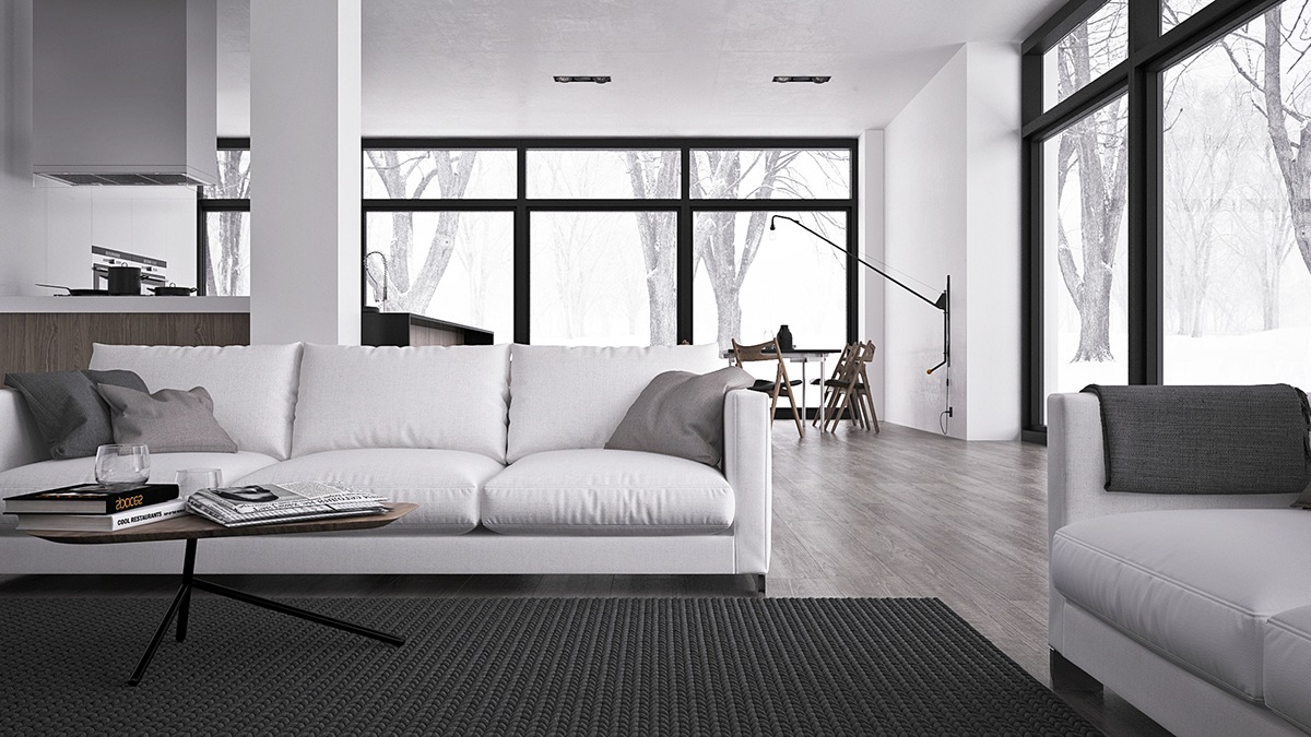 Inspiring minimalist interiors with low profile furniture for Minimalist decor apartment