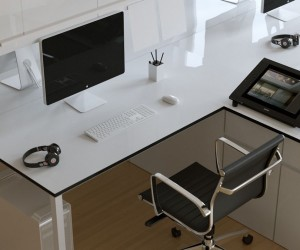 A no-nonsense approach can make sense for open plan offices, but this desk and chair combination would look just as good at home – it has a smart minimalistic appeal, with its subtle black edges creating just the right amount of contrast to help it stand out.