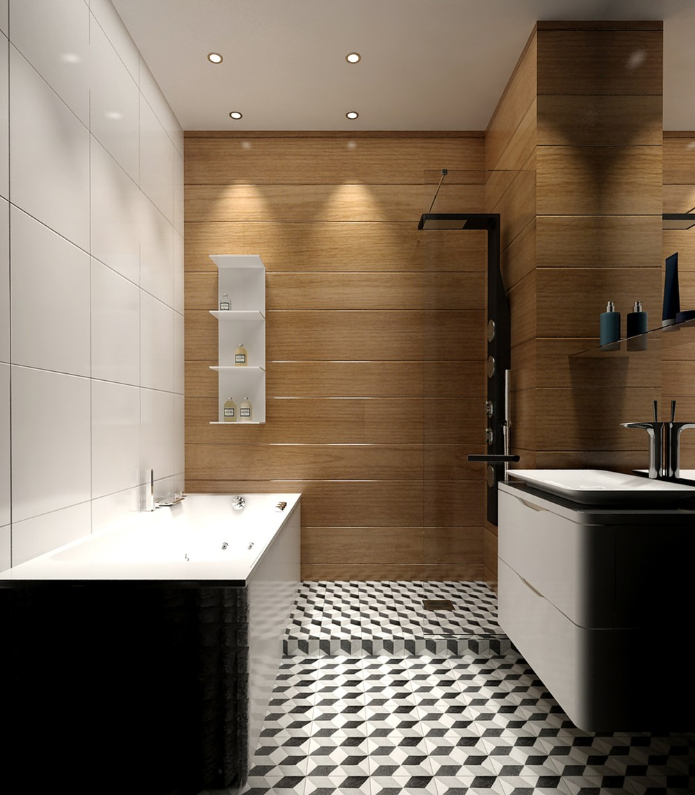 5 ideas for a one bedroom apartment with study includes for Black white bathroom ideas