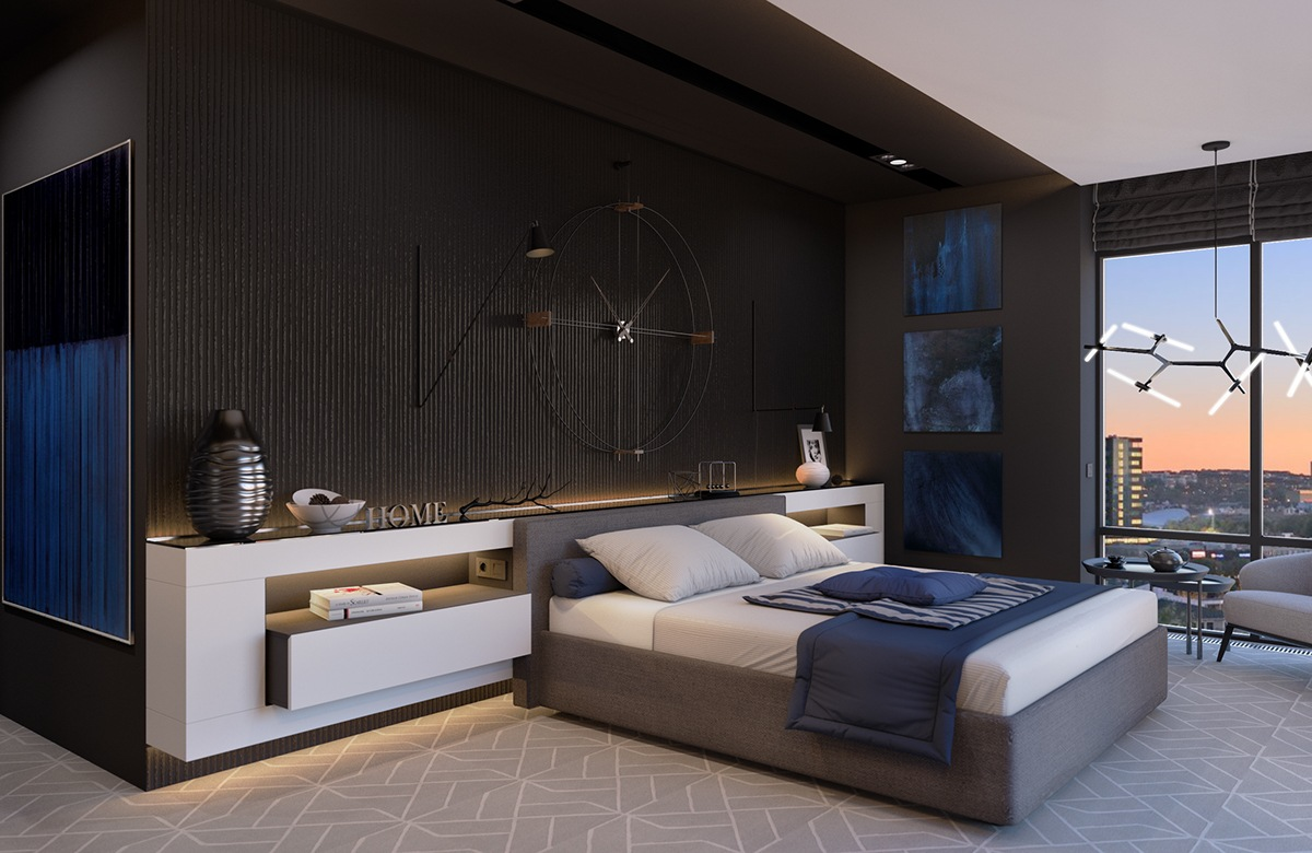 Blue And Black Bedroom Theme - 8 striking bedrooms with distinct personalities