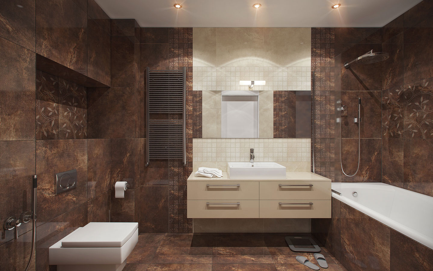 Brown And Cream Bathroom Theme - 5 ideas for a one bedroom apartment with study includes floor plans