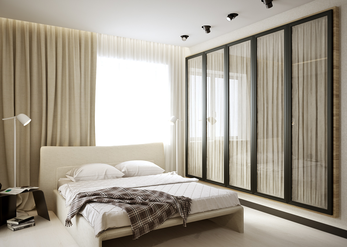 Chic Cream Bedroom Theme - 5 ideas for a one bedroom apartment with study includes floor plans