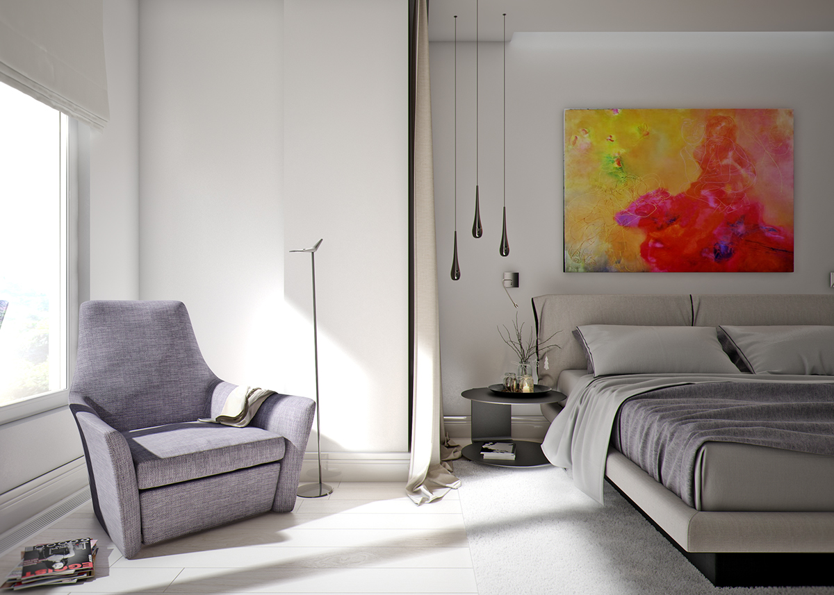 Colorful Bedroom Accent Inspiration - 5 ideas for a one bedroom apartment with study includes floor plans