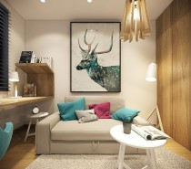 A large deer print emphasizes the accent colors and ensures balance throughout the room, rather than confining color to the lower half.