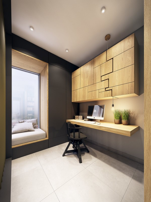 Doesn't this office look dreamy? A window seat gives the resident a nice place to sit down and relax for small breaks at work.
