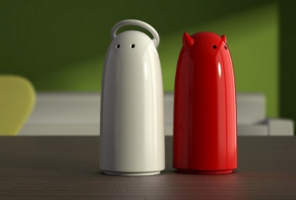 White and red, good and evil, salt and pepper – this plastic spice shaker set reflects the principal of duality in the most adorable way possible.