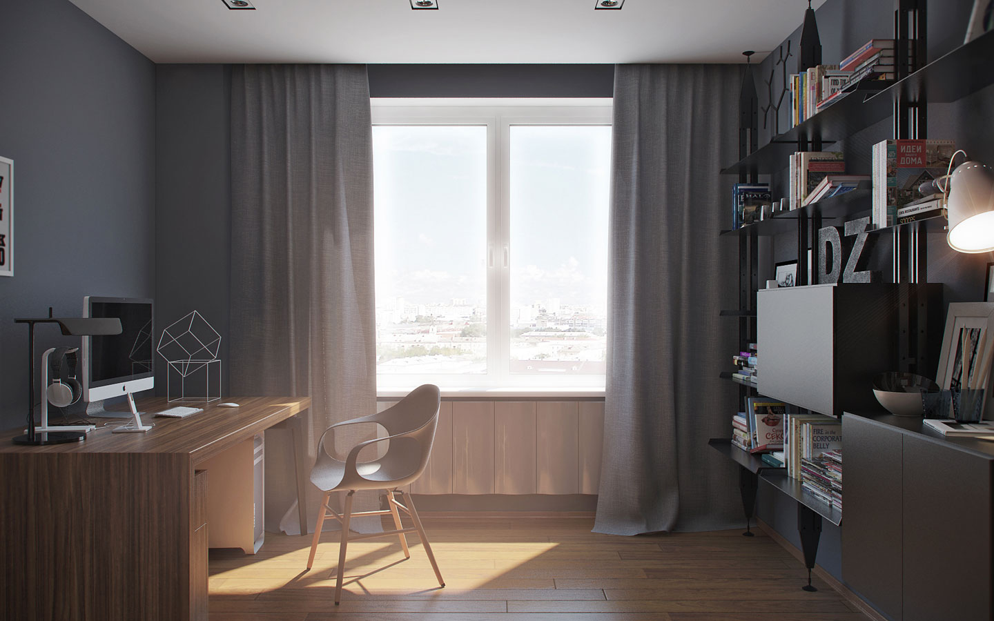 Dark Stylish Home Office Theme - 5 ideas for a one bedroom apartment with study includes floor plans