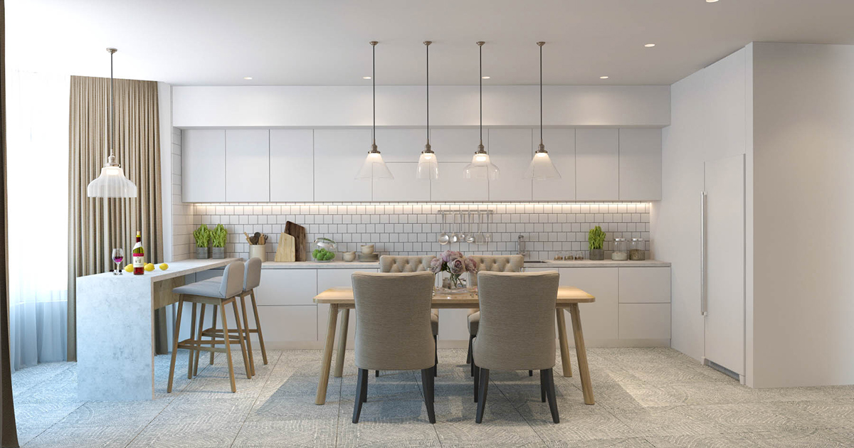 Two efficient apartments for families with two children for Efficient kitchen layout