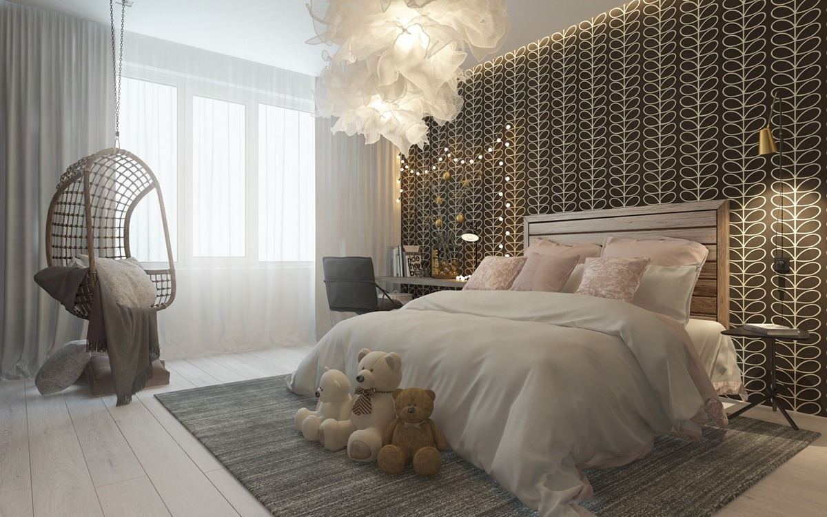 A pair of childrens bedrooms with sophisticated themes for Bedroom designs images