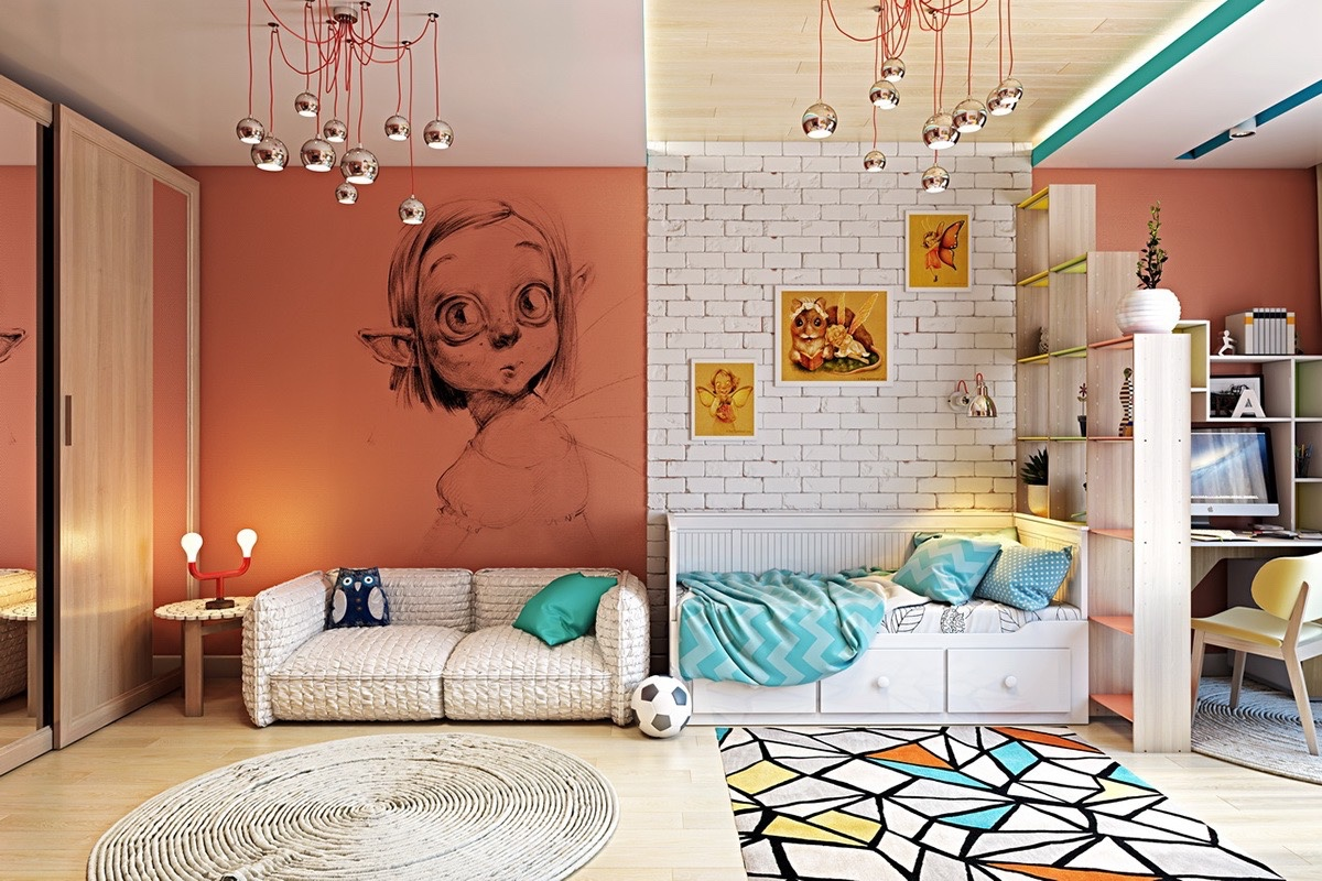 Clever kids room wall decor ideas inspiration for Art room mural ideas