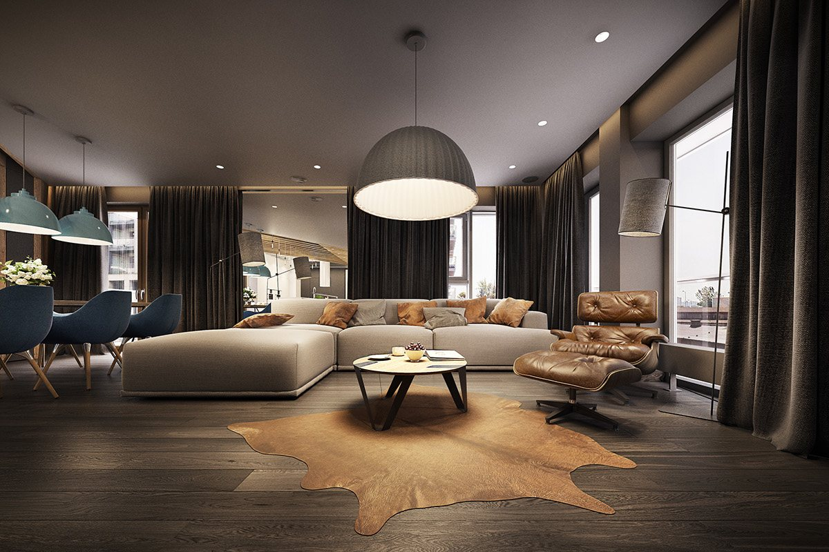 Dramatic interior architecture meets elegant decor in krakow for Zona living moderna