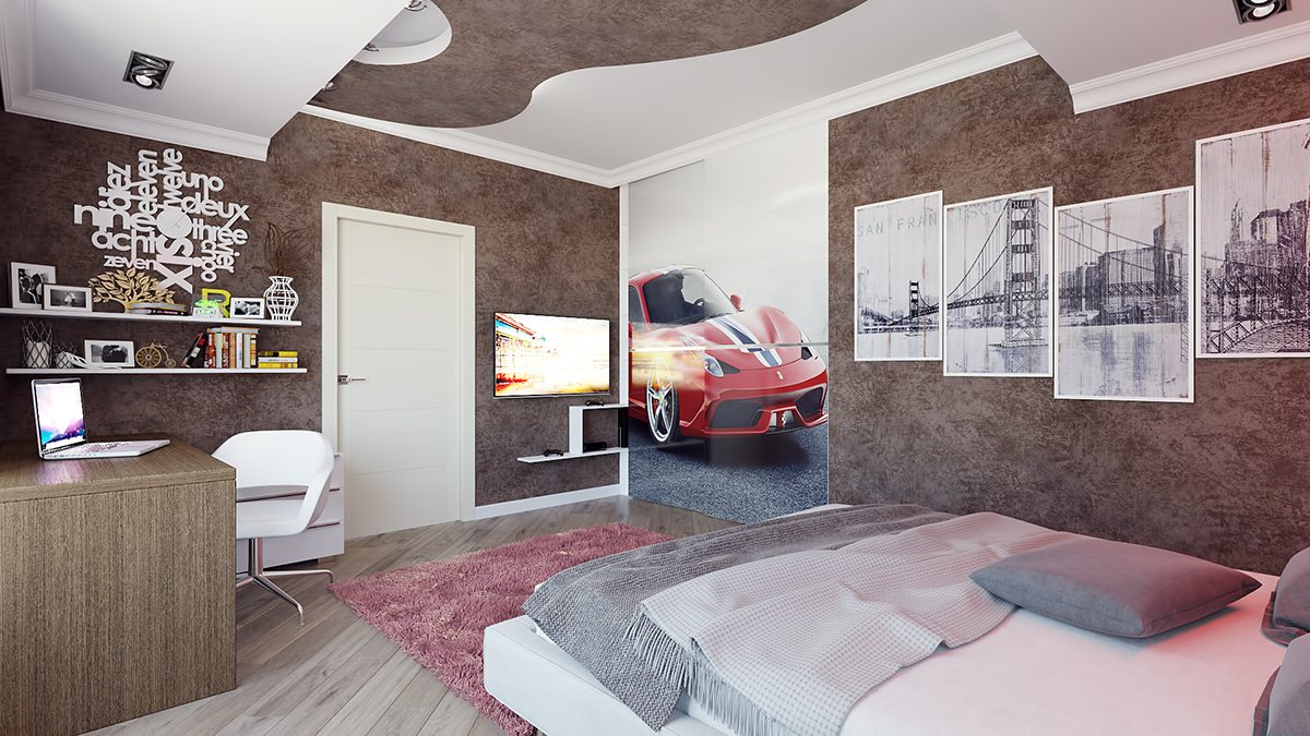 Ferrari Closet Decal - 8 striking bedrooms with distinct personalities