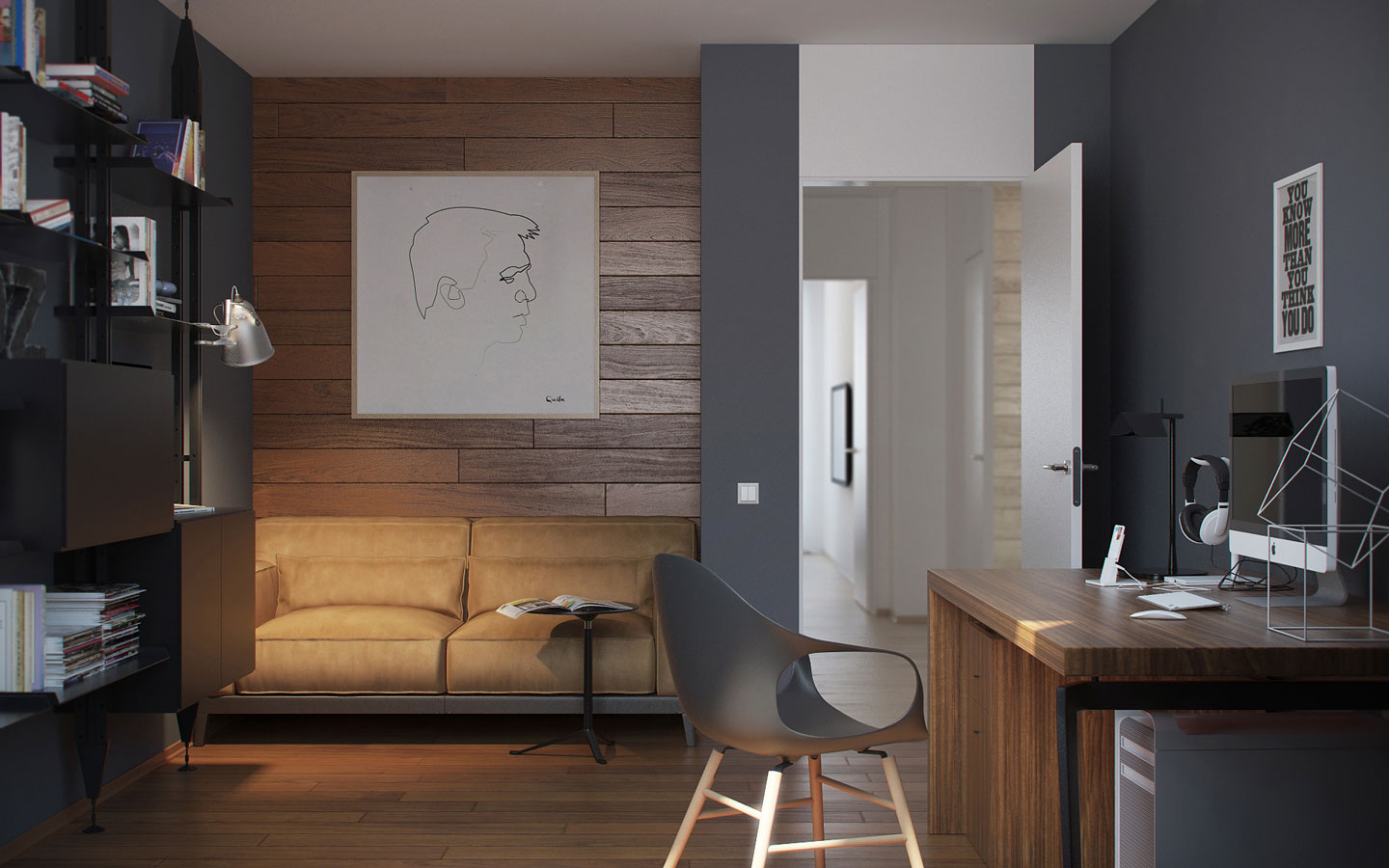 5 ideas for a one bedroom apartment with study includes for Grey interior walls