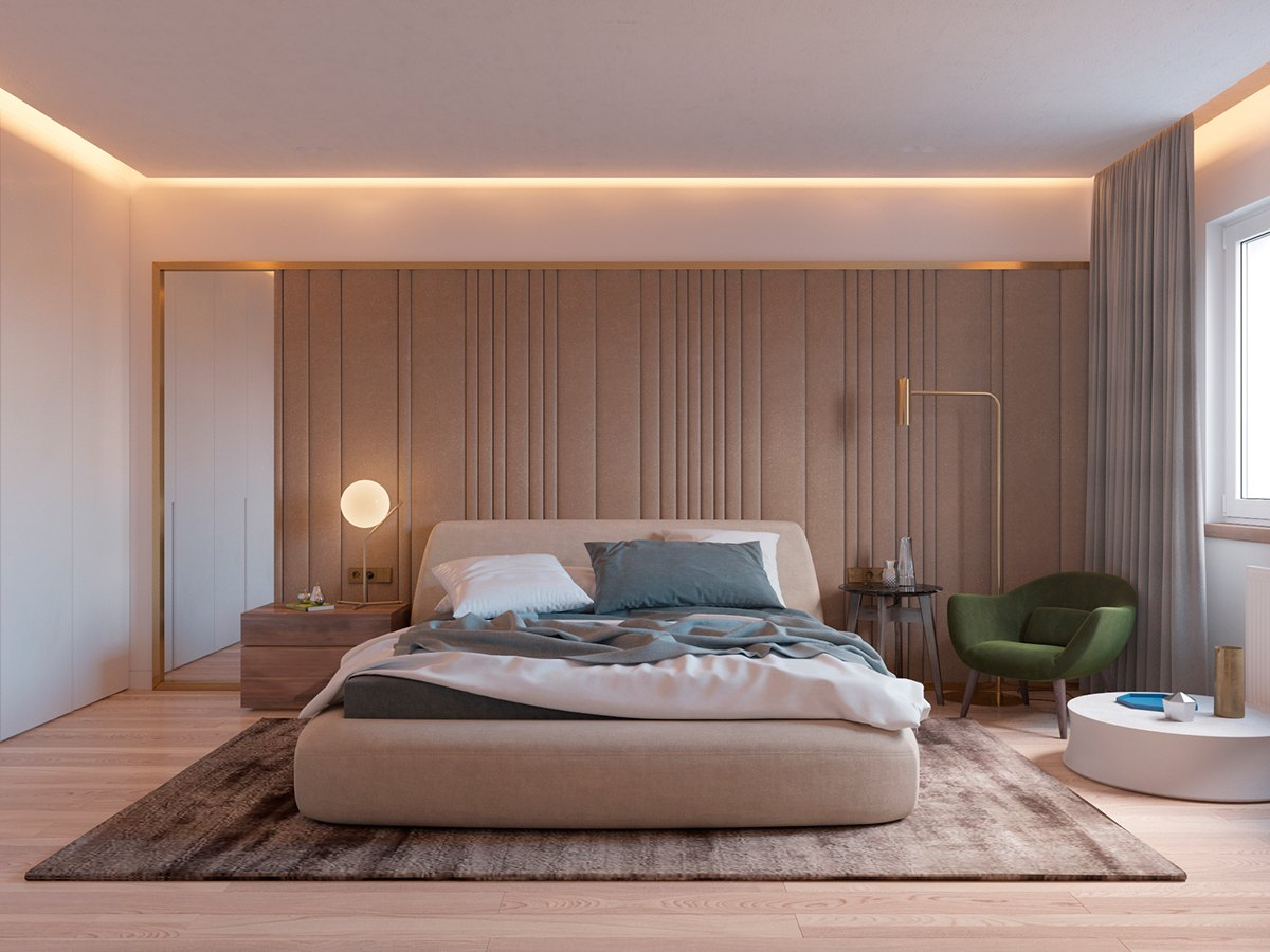 Green And Brass Bedroom - 5 ideas for a one bedroom apartment with study includes floor plans