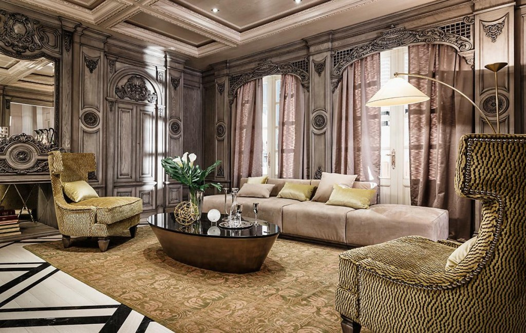 Neoclassical and art deco features in two luxurious interiors for Luxury classic interior design