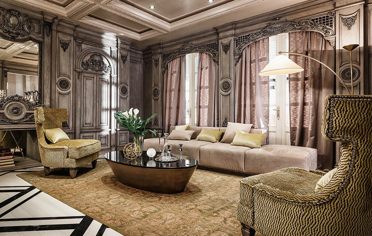 Neoclassical and art deco features in two luxurious interiors for Classic luxury homes