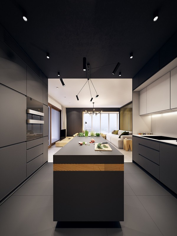 Of course, the dark colors enhance an even cooler feature – the stripe of wood that runs through the length of the island just below the worktop.