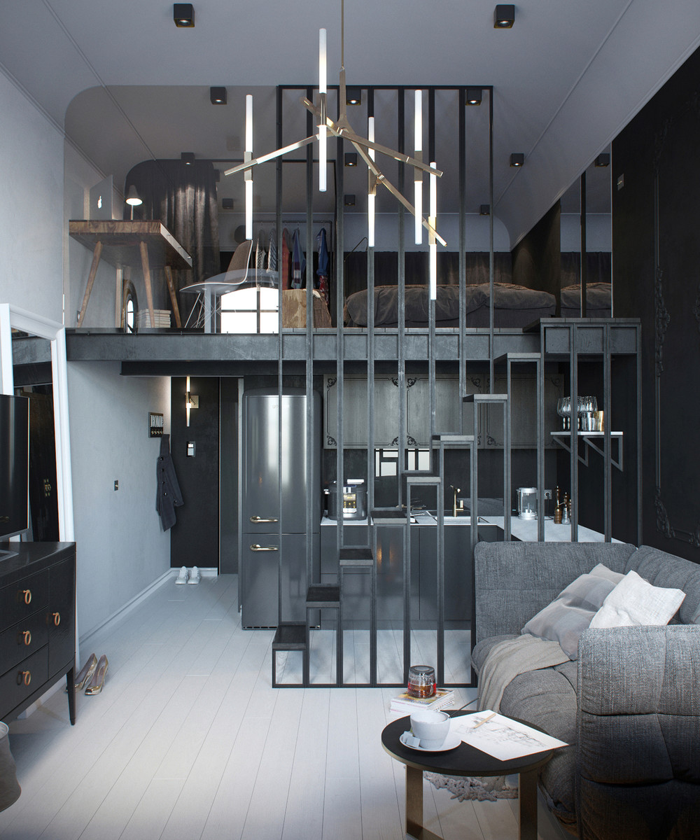 2 apartments under 30 square metre one light one dark. Black Bedroom Furniture Sets. Home Design Ideas