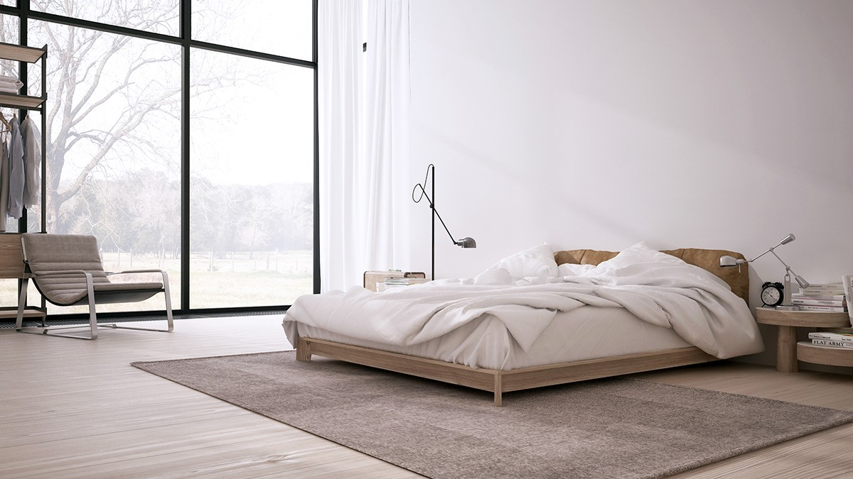 Inspiring minimalist interiors with low profile furniture for Minimalist bedding ideas