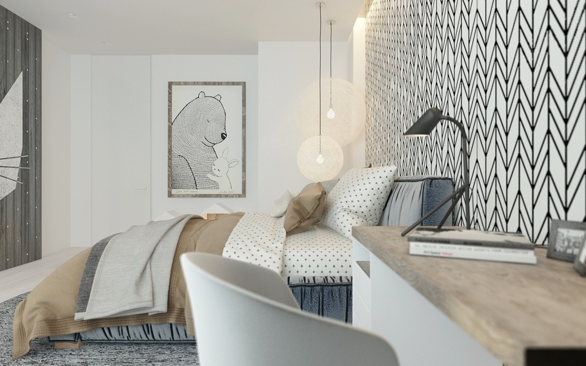 A pair of childrens bedrooms with sophisticated themes - Boys lighting for bedroom ...