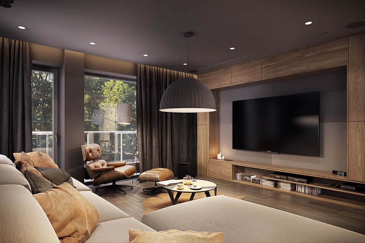Luxurious Wood And Leather Living Room - Dramatic interior architecture meets elegant decor in krakow