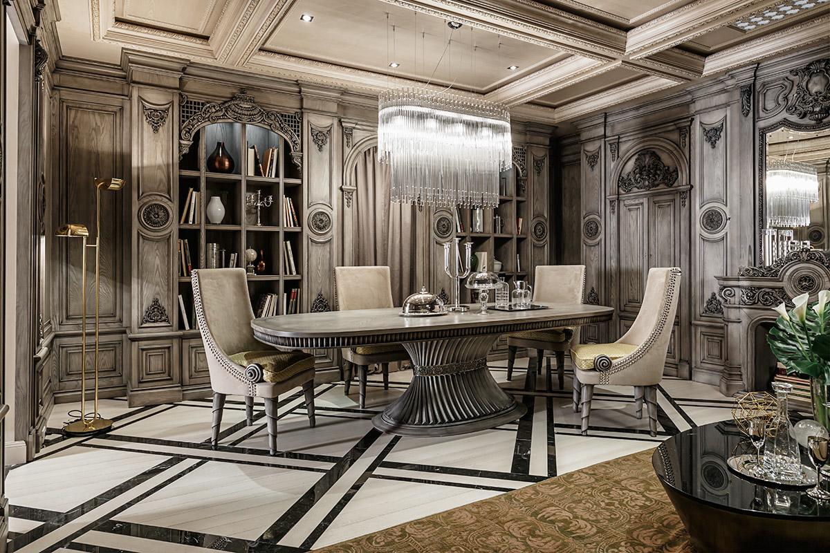 Neoclassical and art deco features in two luxurious interiors for Home and deco