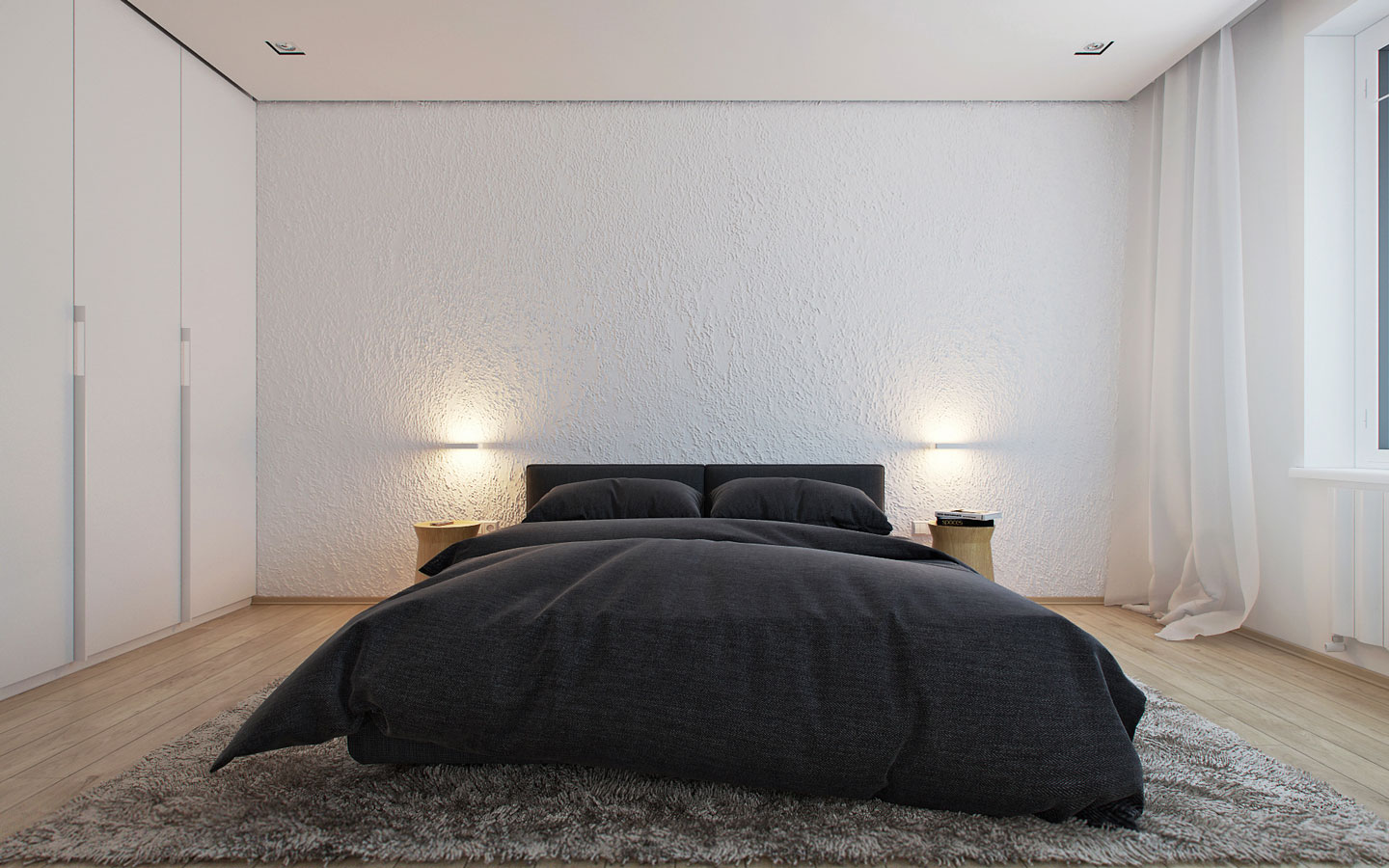 5 ideas for a one bedroom apartment with study includes for Minimalist bedding ideas