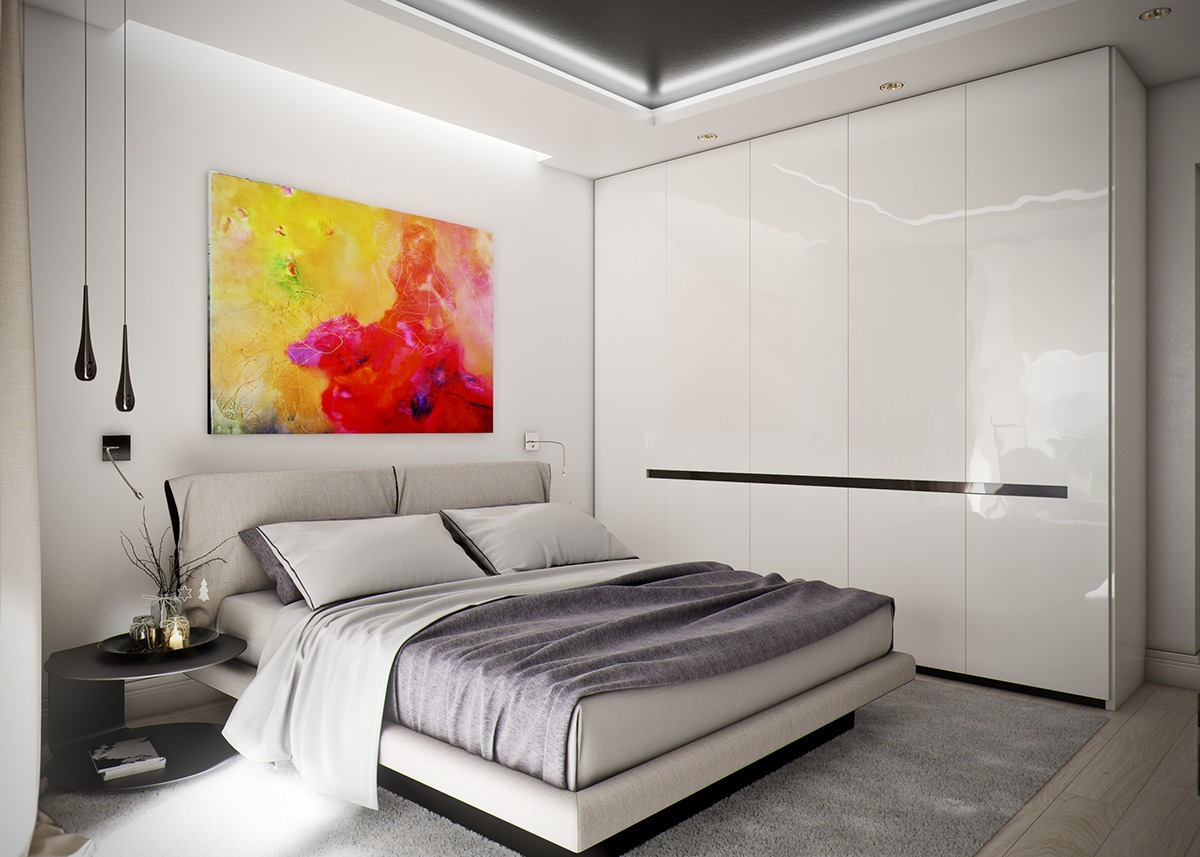 Minimalist Bedroom With Colorful Art - 5 ideas for a one bedroom apartment with study includes floor plans