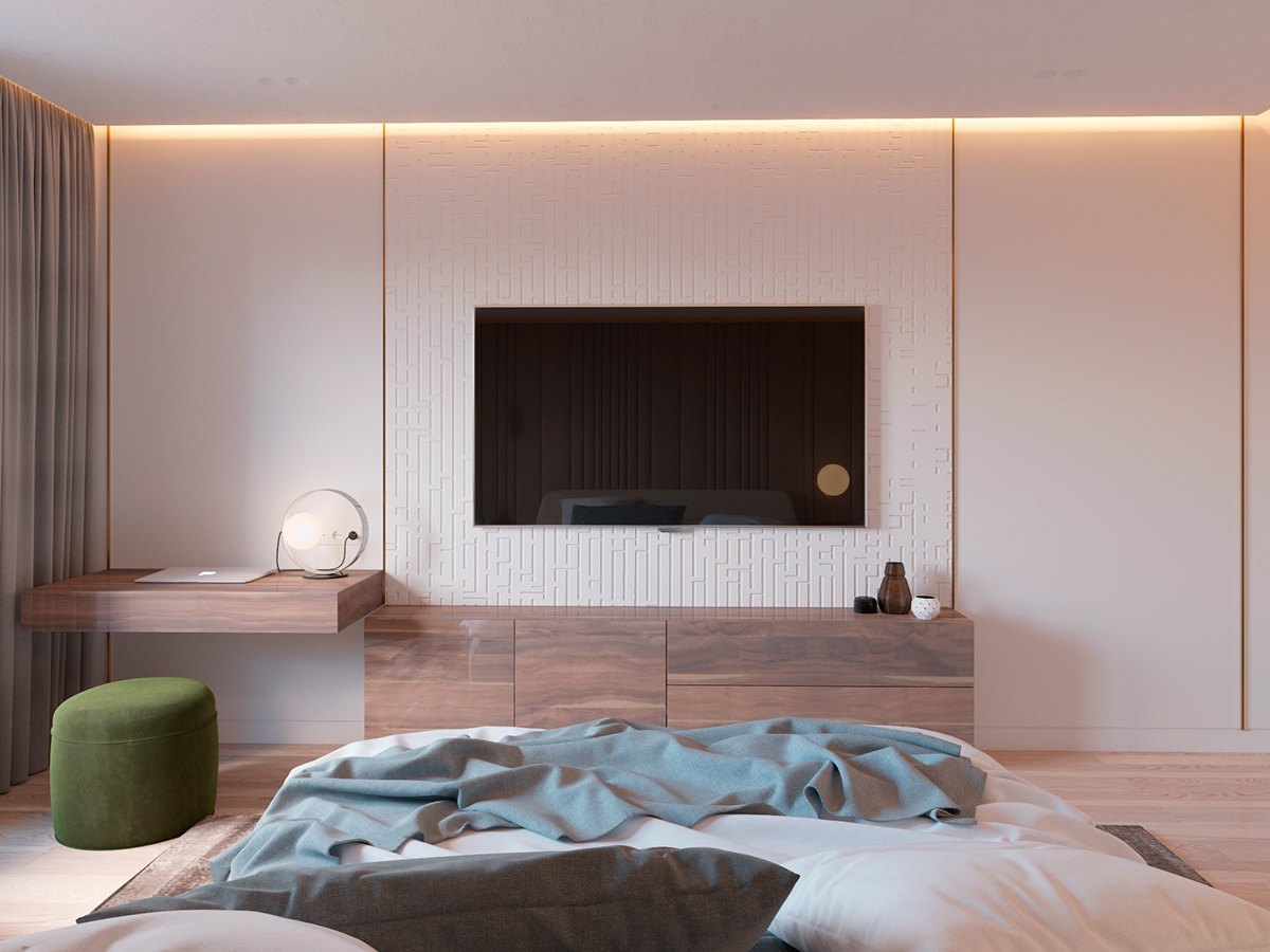 Minimalist Textural Accent Wall - 5 ideas for a one bedroom apartment with study includes floor plans