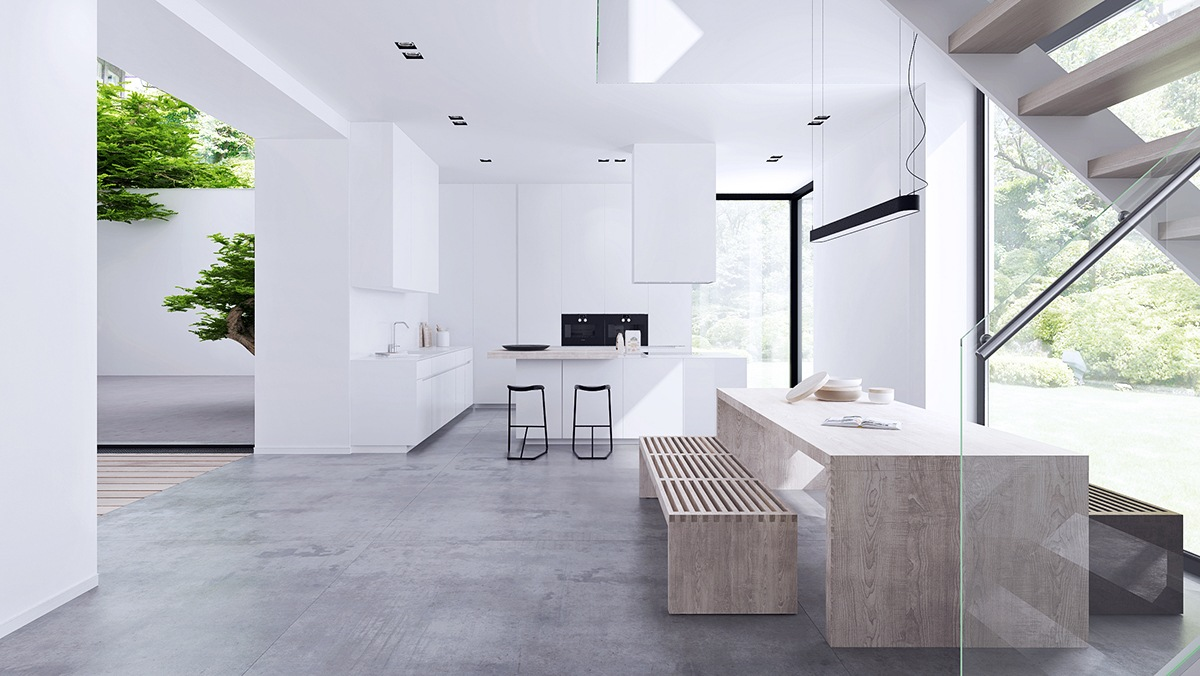 Inspiring minimalist interiors with low profile furniture for Minimalist house interior