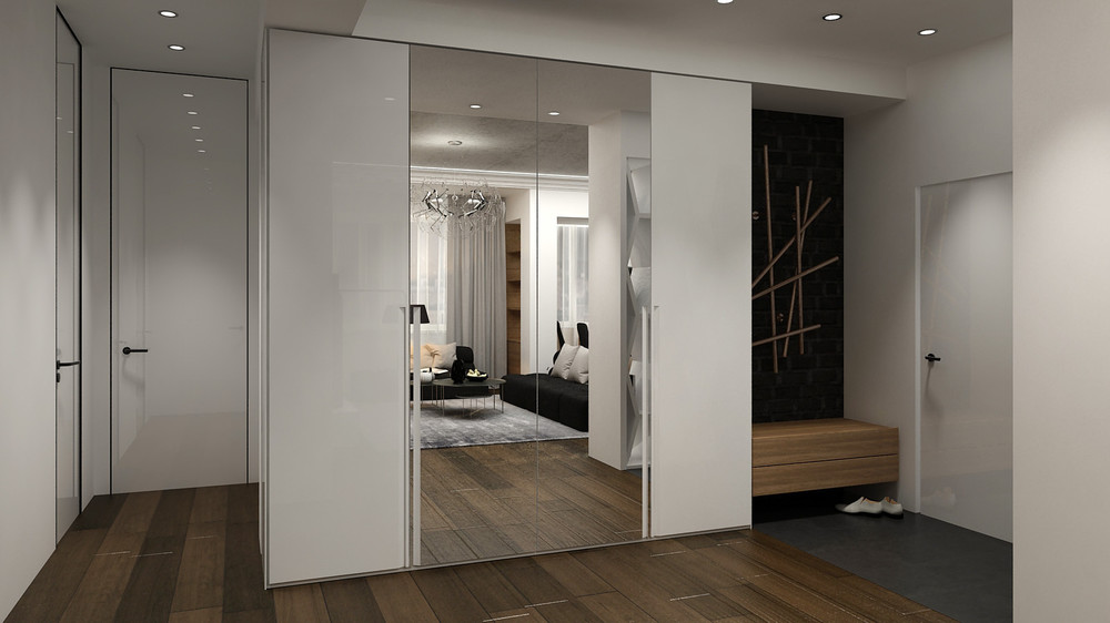 Mirrored Closet Door - 5 ideas for a one bedroom apartment with study includes floor plans