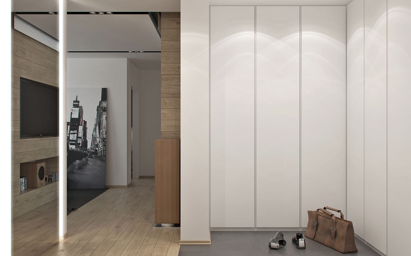 Mirrored Entryway Design - 5 ideas for a one bedroom apartment with study includes floor plans