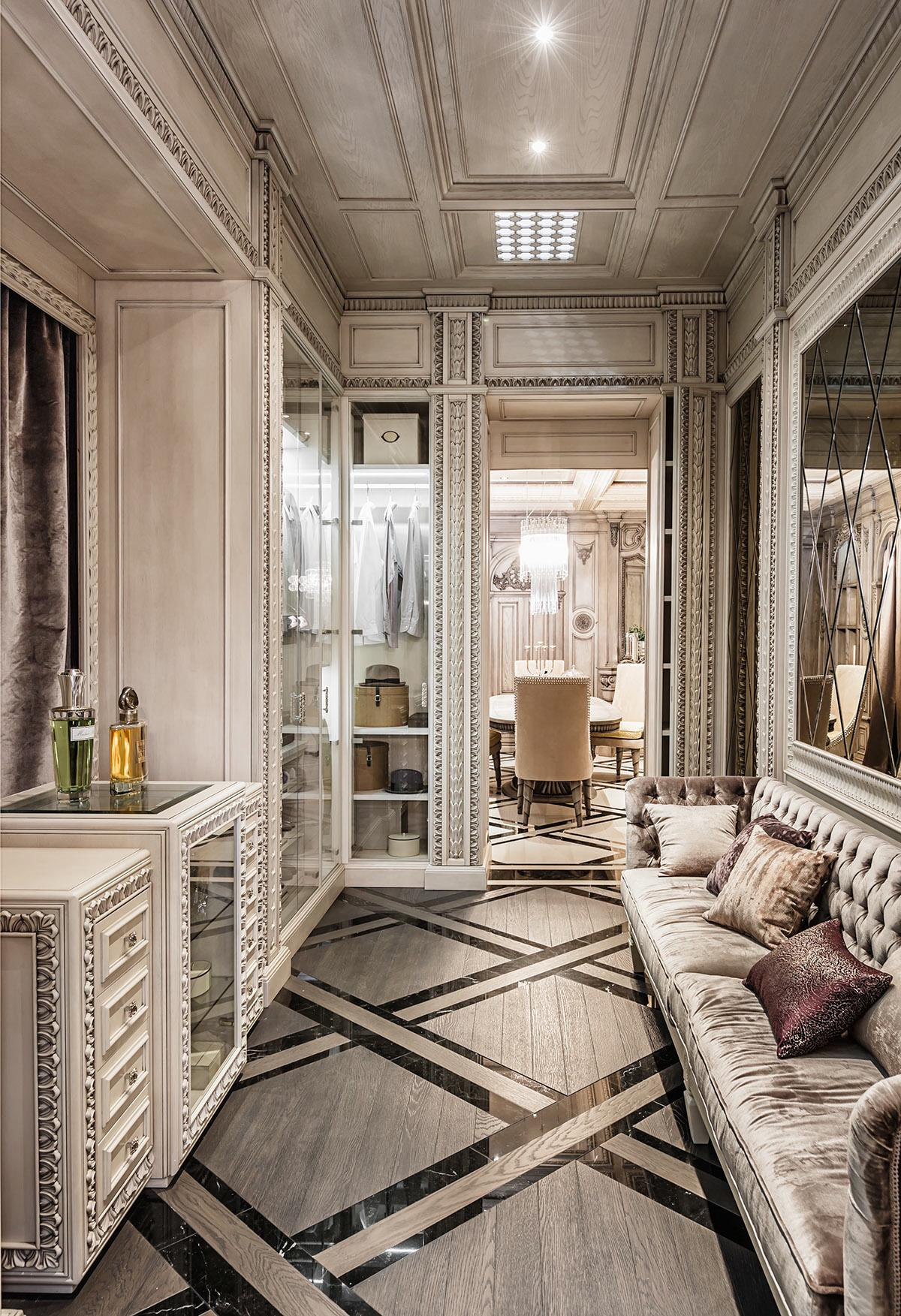 Neoclassical and art deco features in two luxurious interiors for Modern neoclassical interior design