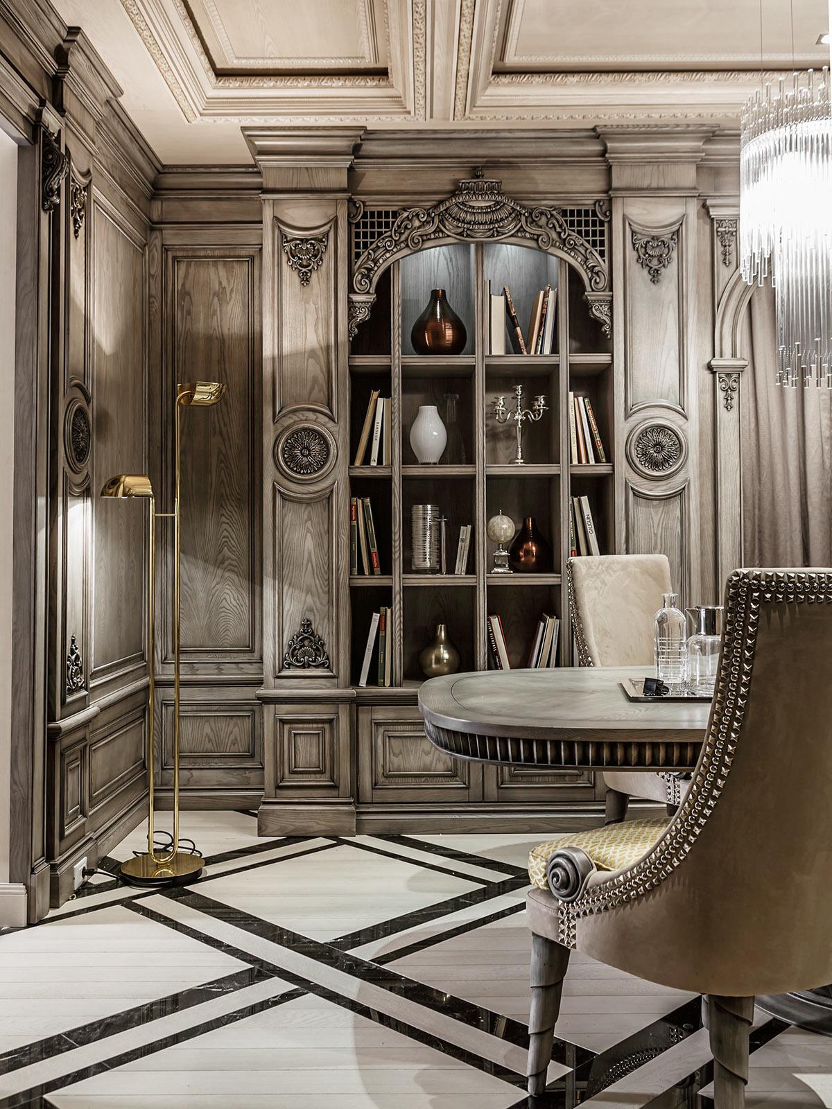 Neoclassical and art deco features in two luxurious interiors for Classic interior furniture