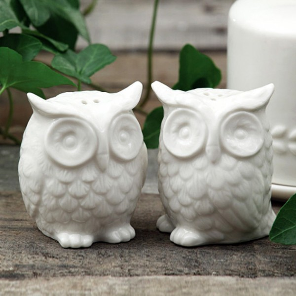 Moving on to birds now. These cute little owl salt and pepper shakers make a cute pair for your dining.