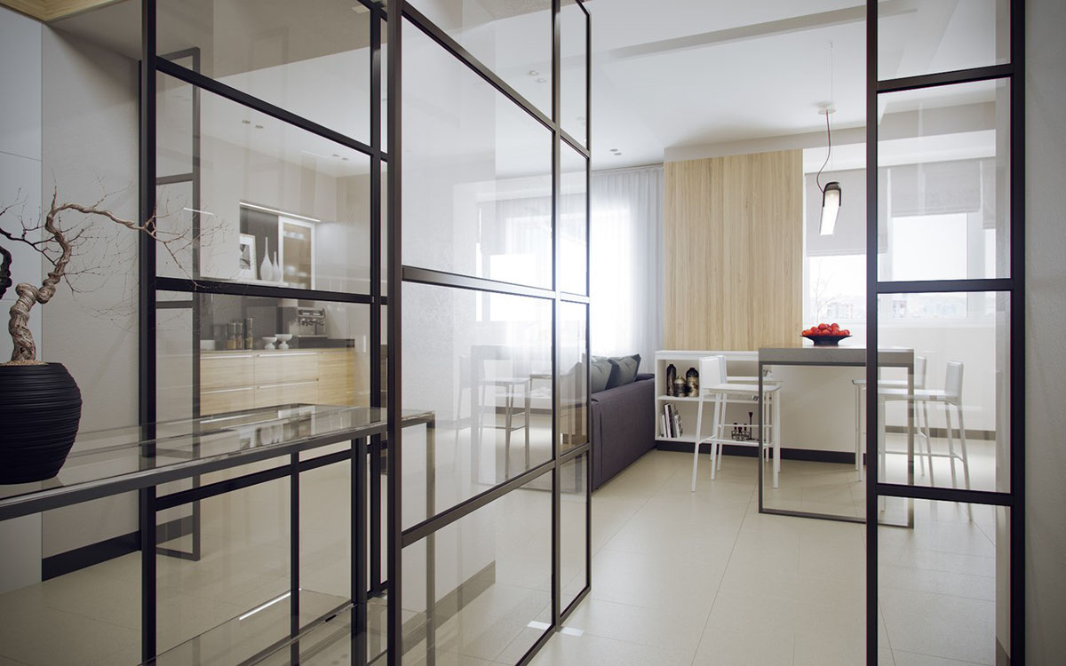 Pivoting Interior Doors - 5 ideas for a one bedroom apartment with study includes floor plans