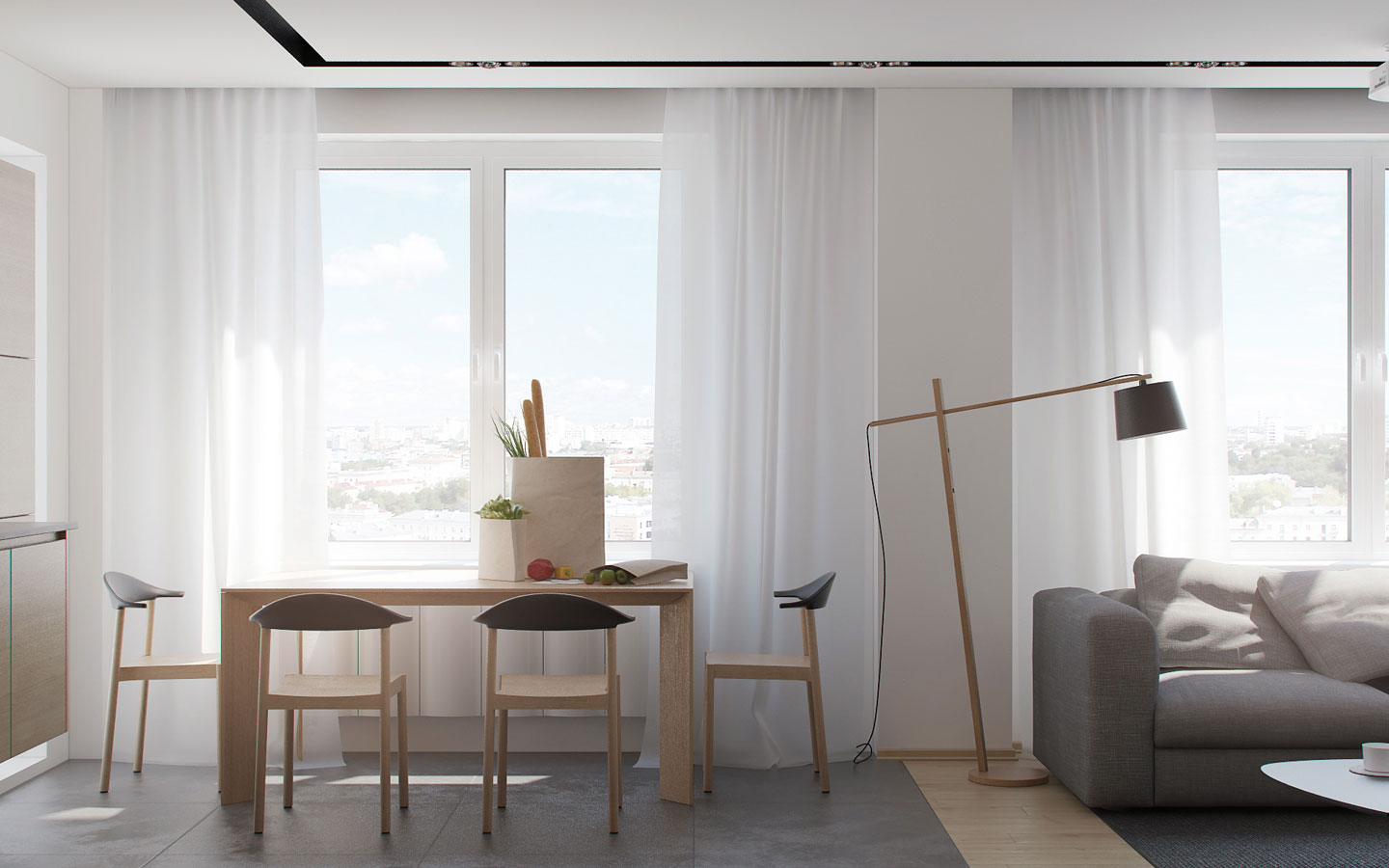 Simple Scandinavian Dining Room - 5 ideas for a one bedroom apartment with study includes floor plans
