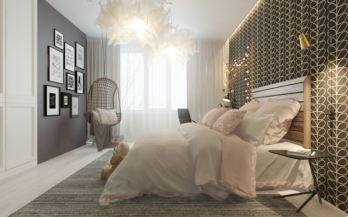 A pair of childrens bedrooms with sophisticated themes for Curtains for the bedroom ideas