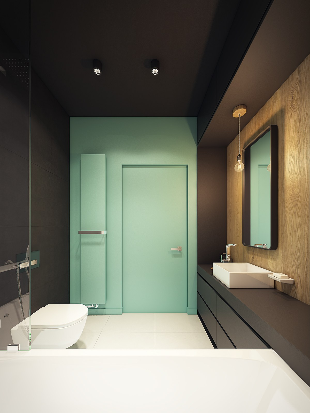 This contemporary apartment pops with turquoise accents for Teal and black bathroom decor