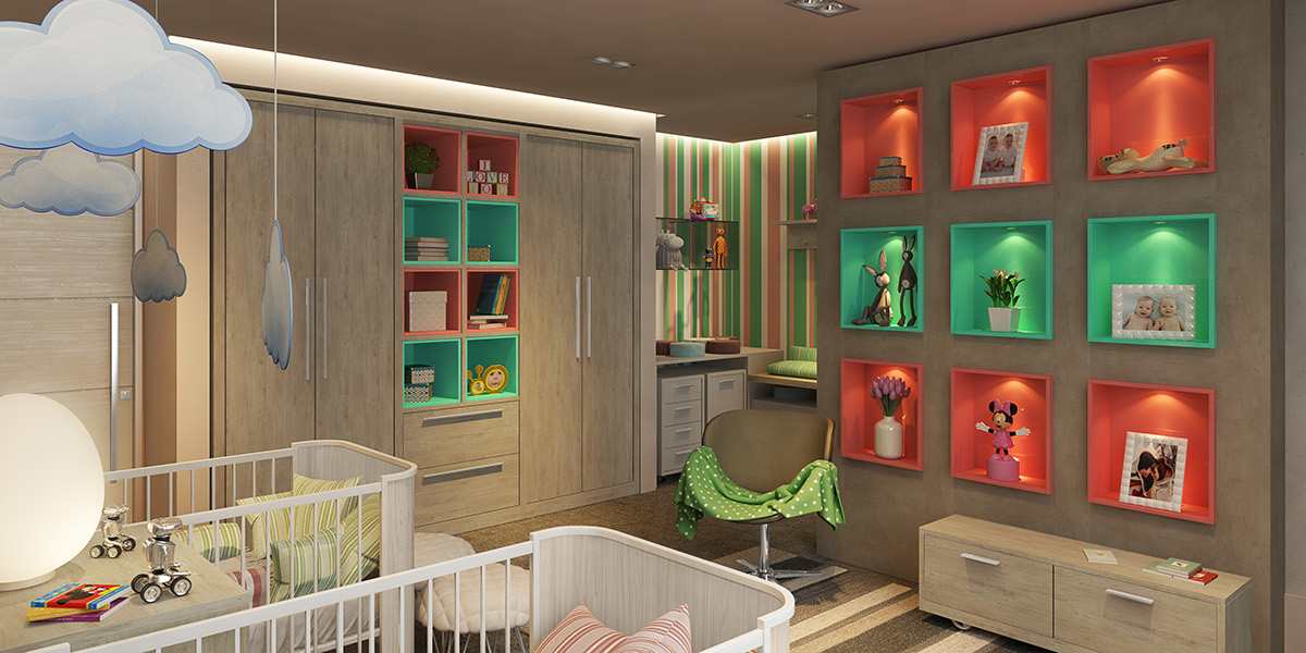 Teal And Orange Nursery Theme - Clever kids room wall decor ideas inspiration