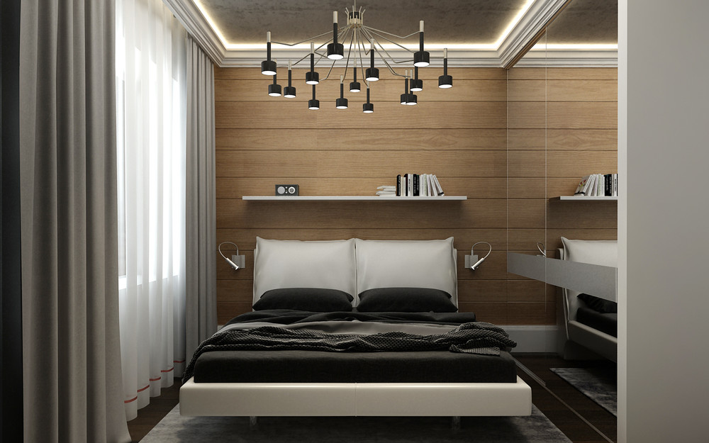 Tiny Mirrored Bedroom - 5 ideas for a one bedroom apartment with study includes floor plans
